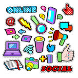 Fashion Badges, Patches, Stickers set with Social Network Elements - Laptop, Megaphone in Pop Art Comic Style Royalty Free Stock Photo