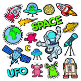 Fashion Badges, Patches, Stickers set with Space, UFO, Robots and Funny Aliens in Pop Art Comic Style Stock Photo
