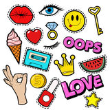 Fashion Badges Set with Patches, Stickers, Lips, Heart, Star, Hand in Pop Art Comic Style Stock Image