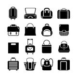 Fashion bag icons. Collection of 16 fashion bag icons on white background royalty free illustration