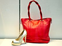 Fashion bag and shoe in Italy royalty free stock photos