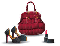 Fashion bag and shoes. Vector illustration Royalty Free Stock Image