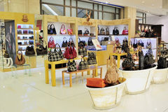 Fashion bag store. A fashion bag store in wuxi YAOHAN shopping plaza, YAOHAN is a high-end, luxury shopping plaza, many famous international brands going in here Royalty Free Stock Image