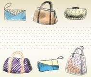 Fashion  bags. Trendy fashion  handbags.  Fashionable Hand drawn illustration Royalty Free Stock Photo