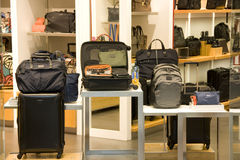 Fashion bags luggage store Royalty Free Stock Photos