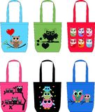 Fashion bags with owls Royalty Free Stock Image
