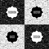 Fashion bags pattern card set Royalty Free Stock Photography