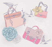 Fashion bags, purses, flowers and birds background royalty free illustration