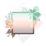 Fashion banner of autumn leaves with white contour. Square frame of leaves for card, invitation, wedding. Pastel colors Stock Image