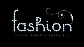 Fashion banner with diamond jewelry letters Stock Photos