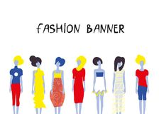 Fashion banner with girls models in different clothes for the cover, banner or wed design. Vector graphic illustration Royalty Free Stock Photography