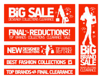 Fashion banners for sale and new clothing collecti Royalty Free Stock Image