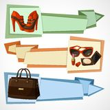 Fashion banners set. Three horizontal women luxury products advertisement banners set with leather footwear bag and cosmetics isolated vector illustration Stock Image