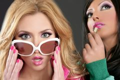 Fashion barbie doll style girls pink lipstick Stock Photos