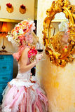 Fashion baroque blond womand drinking red wine Royalty Free Stock Image