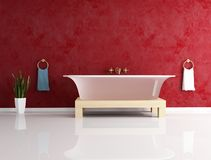 Fashion bathtube against stucco wall Royalty Free Stock Photography