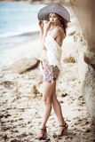 Fashion on a beach Stock Images