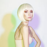 Fashion beautiful blonde with short haircut Royalty Free Stock Images