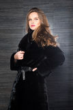Fashion beautiful blonde woman posing in fur coat. Winter Girl Model in Luxury clothes and furry collar on gray background Royalty Free Stock Photo