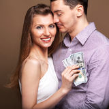 Fashion beautiful couple family budget Royalty Free Stock Photo