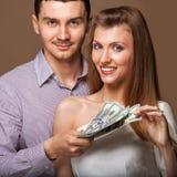 Fashion beautiful couple family budget Royalty Free Stock Photography