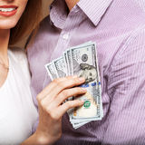 Fashion beautiful couple family budget Royalty Free Stock Image