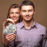 Fashion beautiful couple family budget Stock Photos