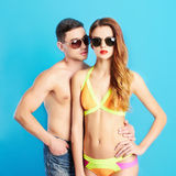 Fashion beautiful couple in sunglasses Royalty Free Stock Images