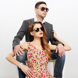 Fashion beautiful couple in sunglasses Stock Photography