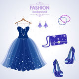Fashion. Beautiful Dress and Accessories to it Stock Images