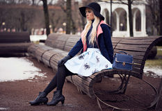 Fashion beautiful girl with bag Royalty Free Stock Photos