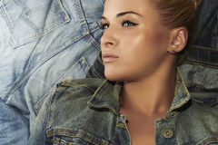 Fashion beautiful girl. denim jeans wear. beauty woman Stock Photo
