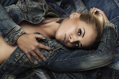 Fashion beautiful girl. denim jeans wear. beauty woman Stock Photography
