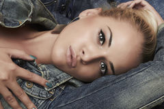 Fashion beautiful girl. denim jeans wear. beauty woman Stock Photography