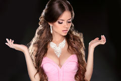 Fashion Beautiful Girl Model with Jewelry isolated on black back Stock Photography
