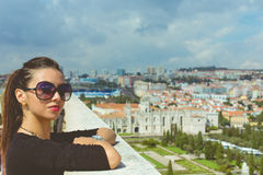 Fashion beautiful girl of the rooftop if Lisbon. Blue Caves, rocks on Zakynthos Island stock photography