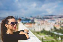 Fashion beautiful girl of the rooftop if Lisbon. Blue Caves, rocks on Zakynthos Island stock photo