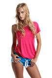 Fashion beautiful girl with shorts Royalty Free Stock Photography