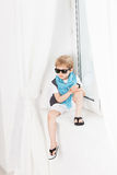 Fashion beautiful little boy in sunglasses Stock Photos