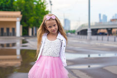 Fashion beautiful little girl outdoors Stock Images