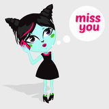 Fashion Beautiful Living Dead Zombie girl Vector illustration of Cartoon Female zombie miss you card.  Stock Image