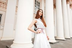 Fashion beautiful model woman in white fashionable dress stock photos