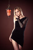 Fashion beautiful sexy woman black dress Stock Photography