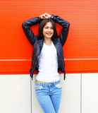 Fashion beautiful smiling young brunette woman Royalty Free Stock Image