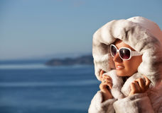 Fashion Beautiful Winter Woman in Luxury Fur Royalty Free Stock Photo