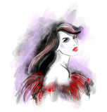 Fashion beautiful woman  abstract. Illustration water color Stock Photos