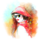 Fashion beautiful  woman autumn abstract. Illustration water color Royalty Free Stock Photography