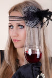 Fashion beautiful woman with glass red wine. Retro portrait Royalty Free Stock Photo