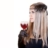 Fashion beautiful woman with glass red wine. Retro portrait Stock Photos