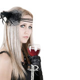 Fashion beautiful woman with glass red wine Royalty Free Stock Photo
